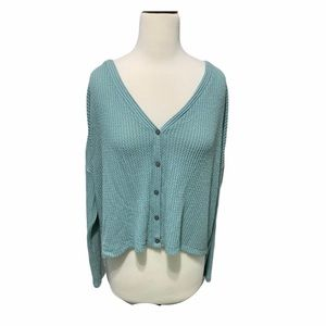 Wild fable waffle knit dusty blue cardigan small